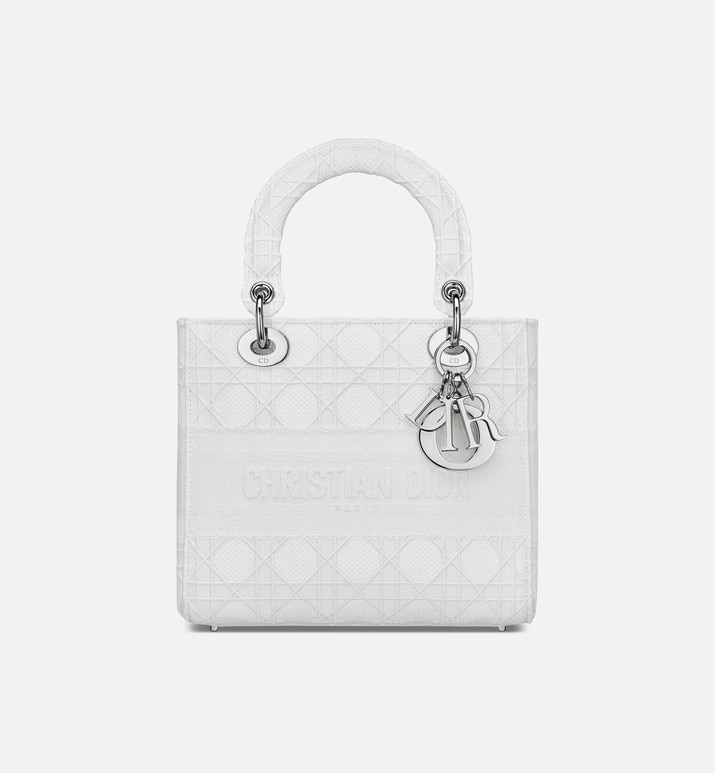 medium white lady d-lite embroidered cannage bag | Dior