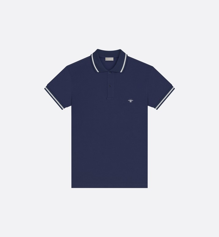 navy cotton piqué polo shirt with bee emblem | Dior