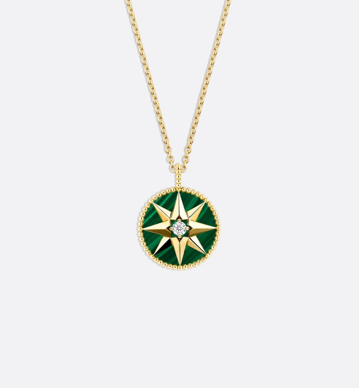 rose des vents medallion necklace, 18k yellow gold, diamond and malachite | Dior