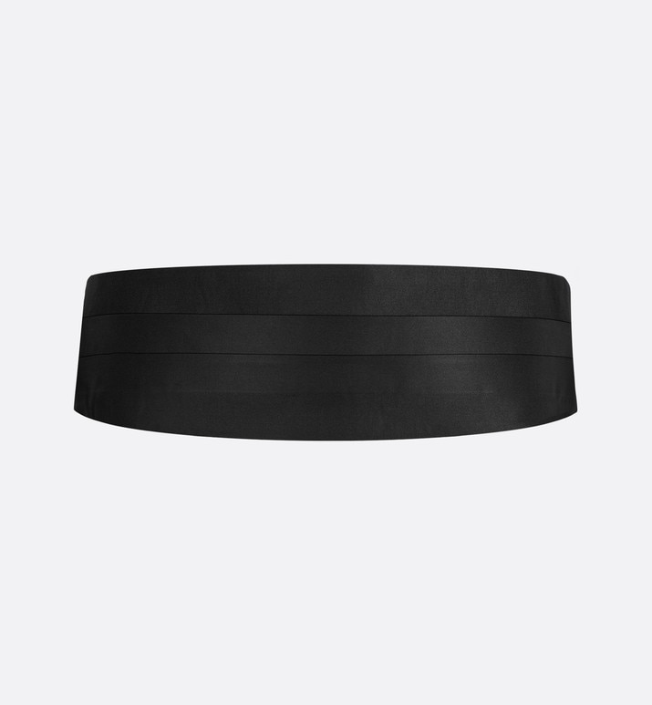 black silk satin tuxedo belt  | Dior