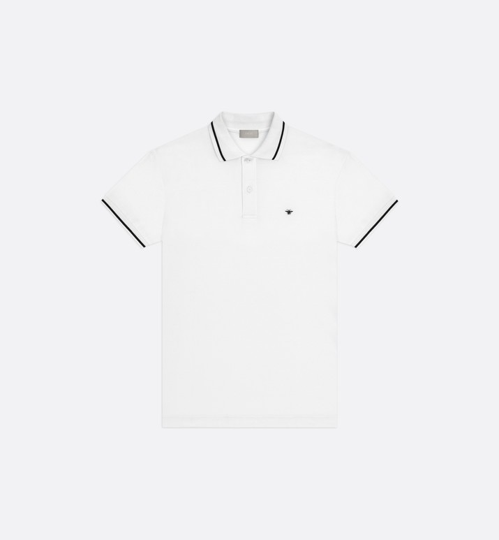 white cotton piqué polo shirt with bee emblem | Dior