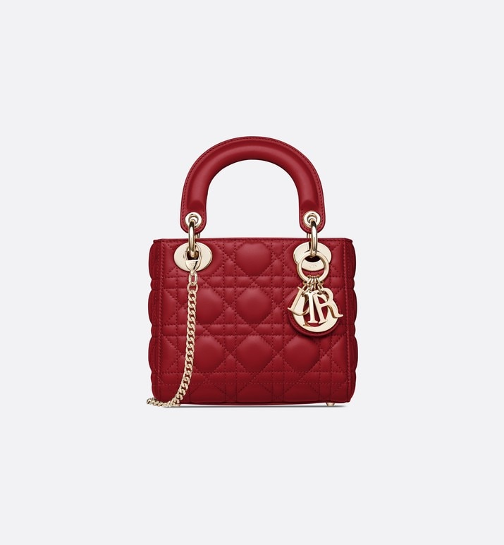 cherry red lady dior mini lambskin chain bag | Dior