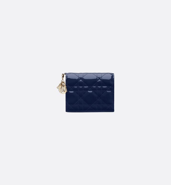 lady dior wallet in blue calfskin | Dior