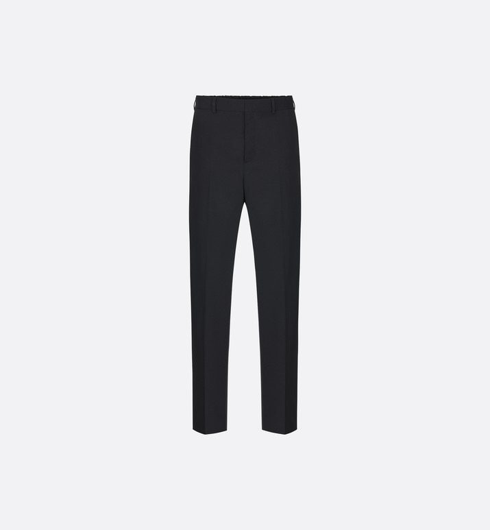 black virgin wool twill pants with elasticated waist | Dior