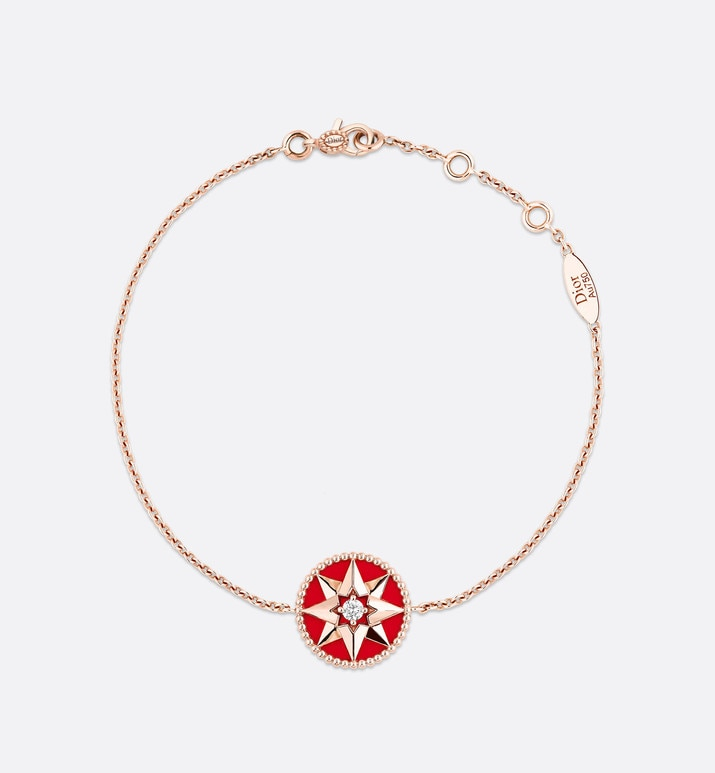 rose des vents bracelet, 18k pink gold, diamond and red lacquered ceramic | Dior