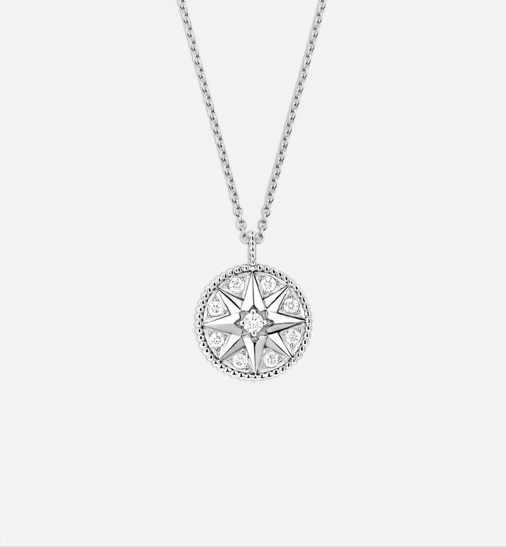 collier médaillon rose des vents, or blanc 750/1000e et diamants | Dior