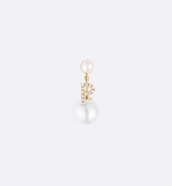 white crystal letter 'p' my abcdior tribales gold finish earring | Dior