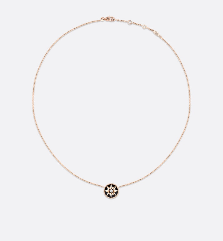 rose des vents necklace, 18k pink gold, diamond and onyx | Dior