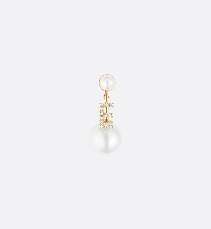 white crystal letter 'e' my abcdior tribales gold finish earring | Dior