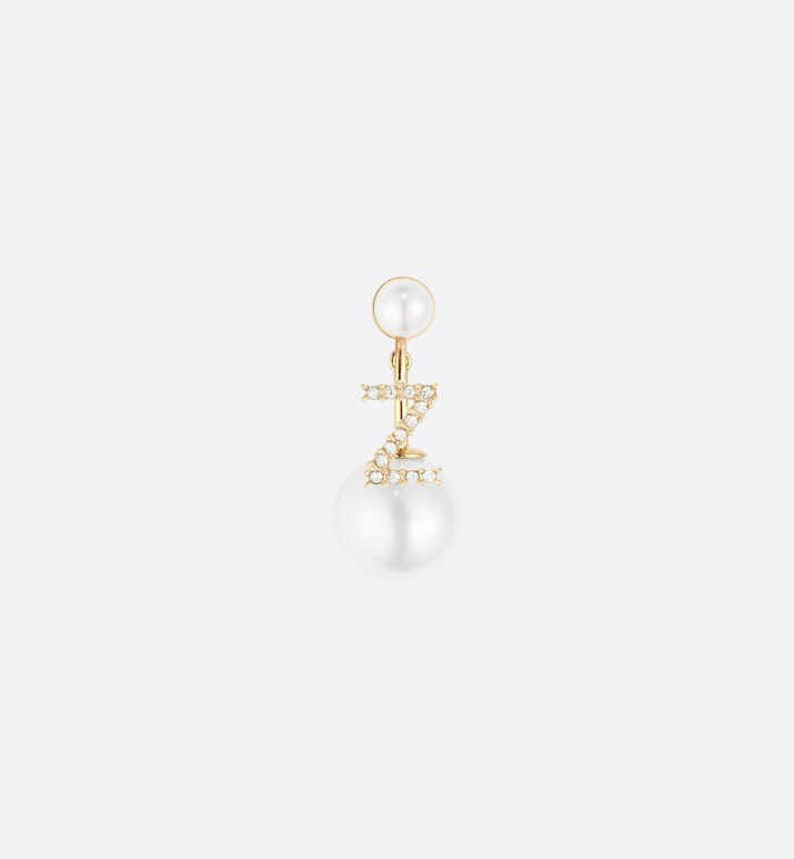 white crystal letter 'z' my abcdior tribales gold finish earring | Dior