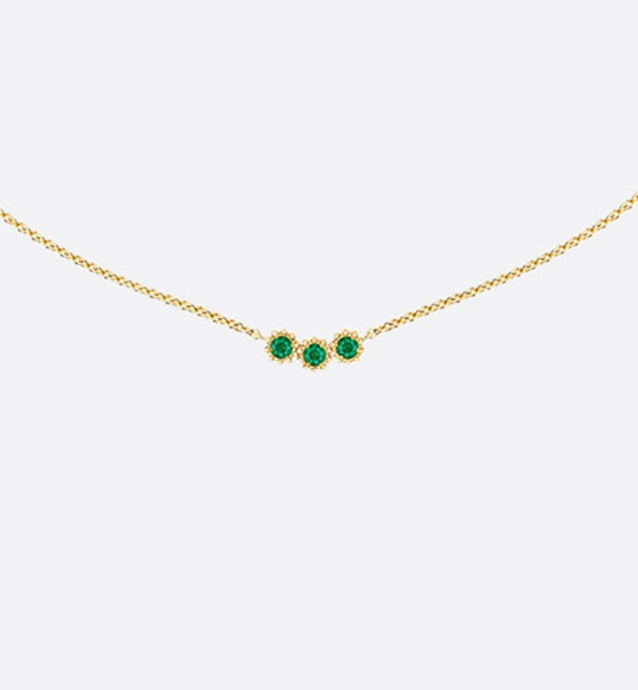 mimirose necklace, 18k yellow gold and emeralds | Dior