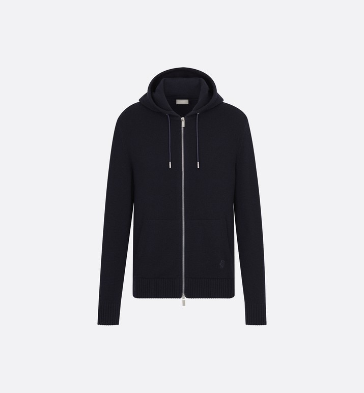 navy cashmere hoodie with gothic 'cd' embroidery | Dior