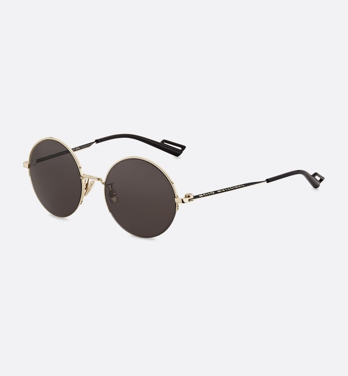 dior180.2f gold metal round sunglasses with black temples | Dior