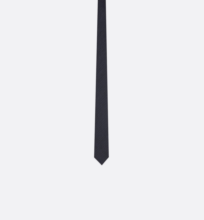 dark blue and black dior oblique narrow jacquard tie | Dior