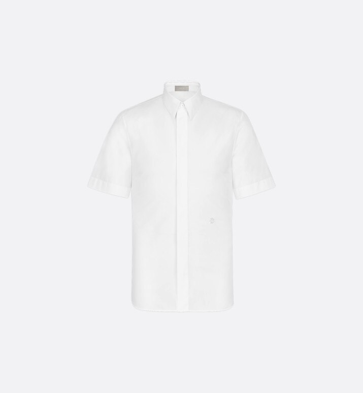 white cotton poplin short sleeve shirt with 'cd' gothic logo | Dior