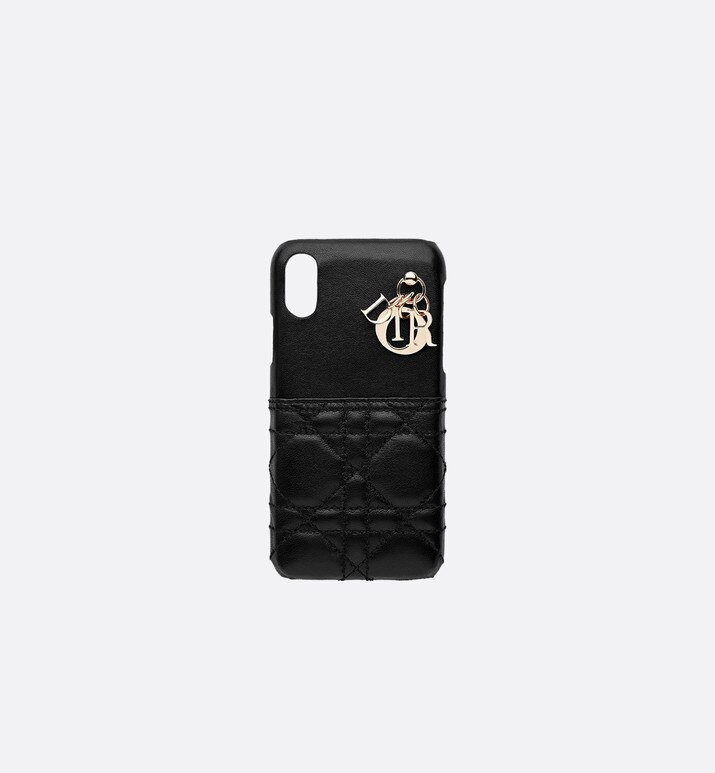cover per iphone lady dior in agnello nero | Dior