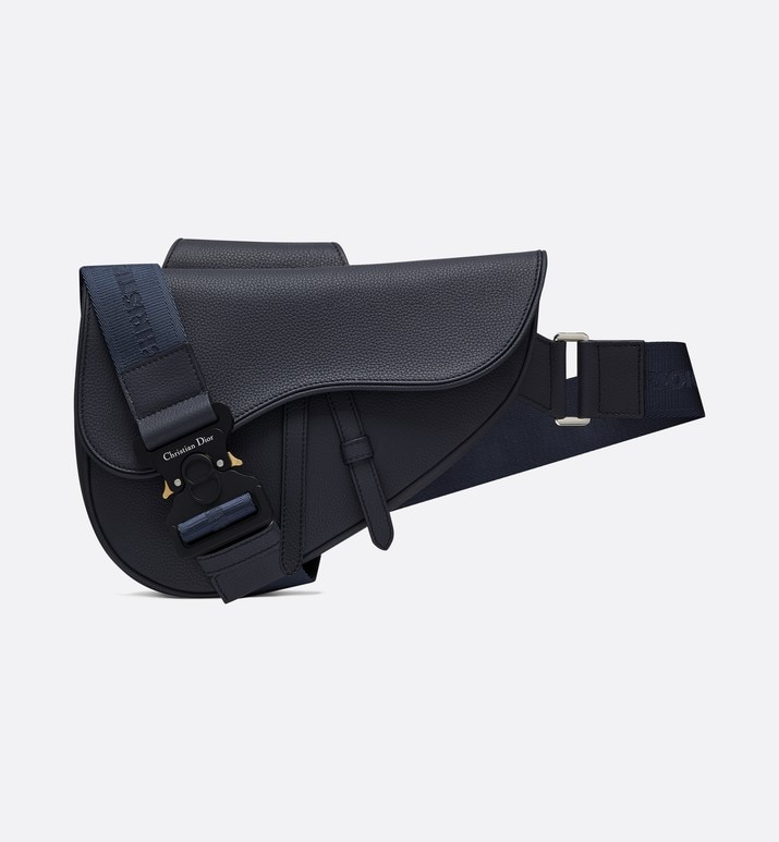 saddle bag in navy blue calfskin | Dior