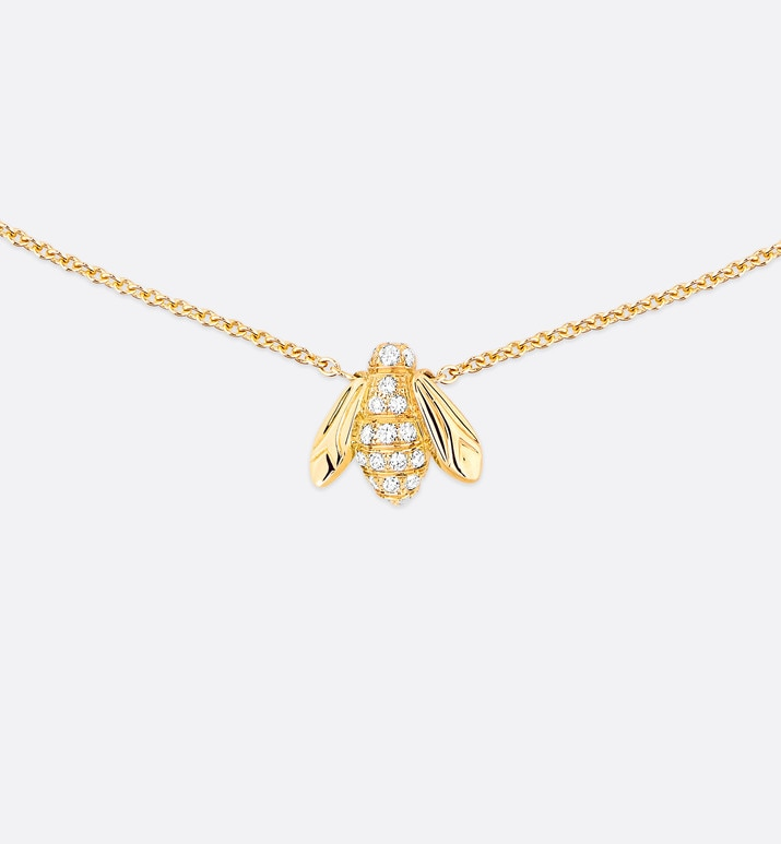rose dior pré catelan necklace, 18k yellow gold and diamonds | Dior