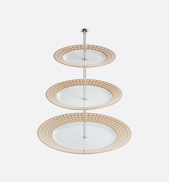 cannage montaigne three-tiered cake stand | Dior