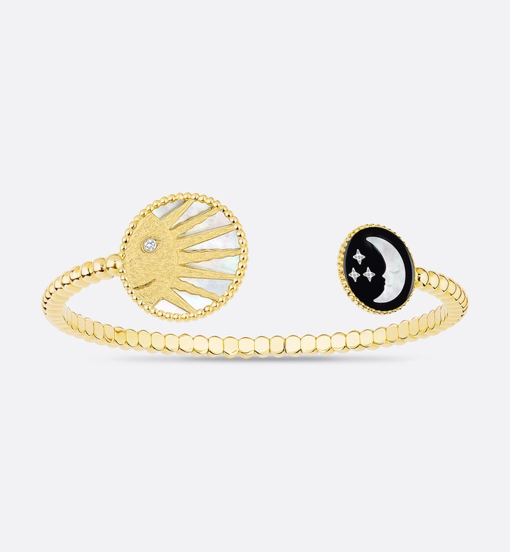 rose céleste bangle, 18k yellow gold and white gold, diamond, mother-of-pearl and onyx | Dior