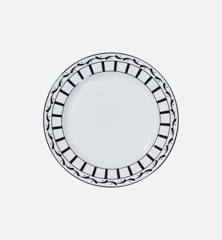 black and white striped dessert plate | Dior