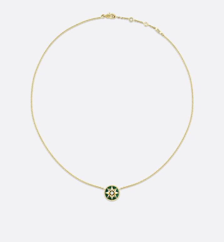 rose des vents necklace, 18k yellow gold, diamond and malachite | Dior