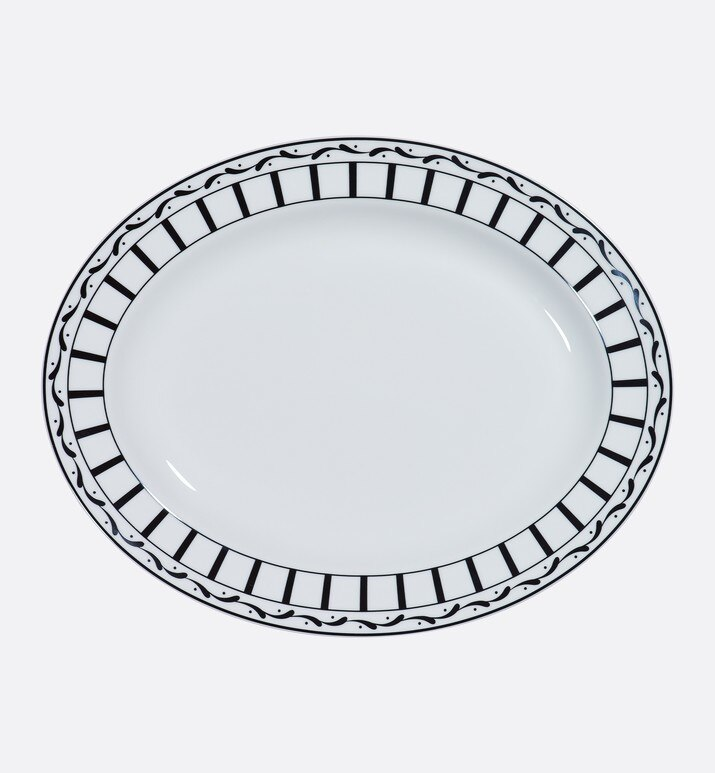 black and white striped oval platter | Dior