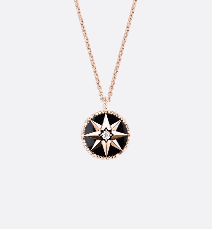rose des vents medallion necklace, 18k pink gold, diamond and onyx | Dior