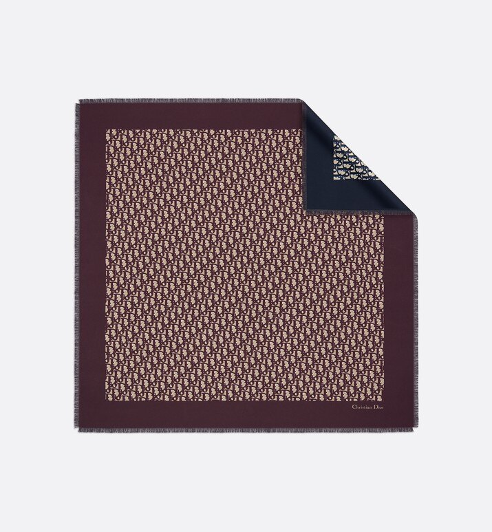 dior oblique burgundy and navy blue square scarf | Dior