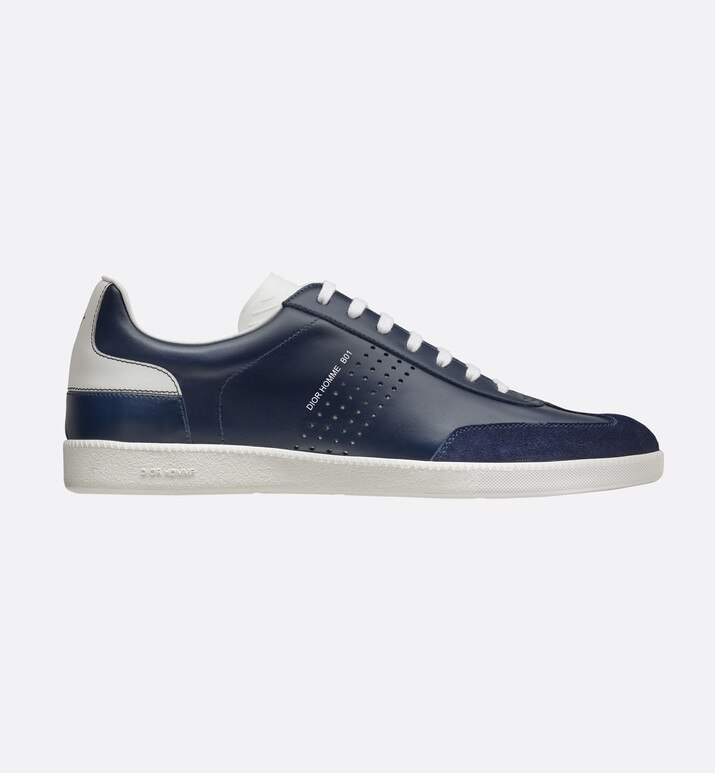blue and white smooth calfskin and blue suede calfskin sneaker, b01 signature | Dior
