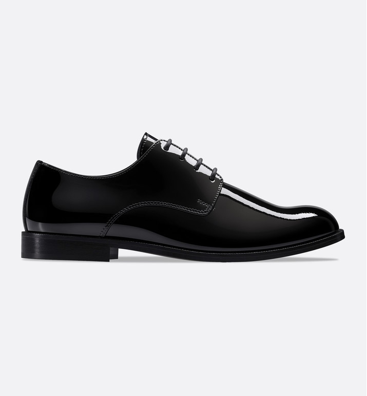 derby shoes in black patent calfskin leather | Dior