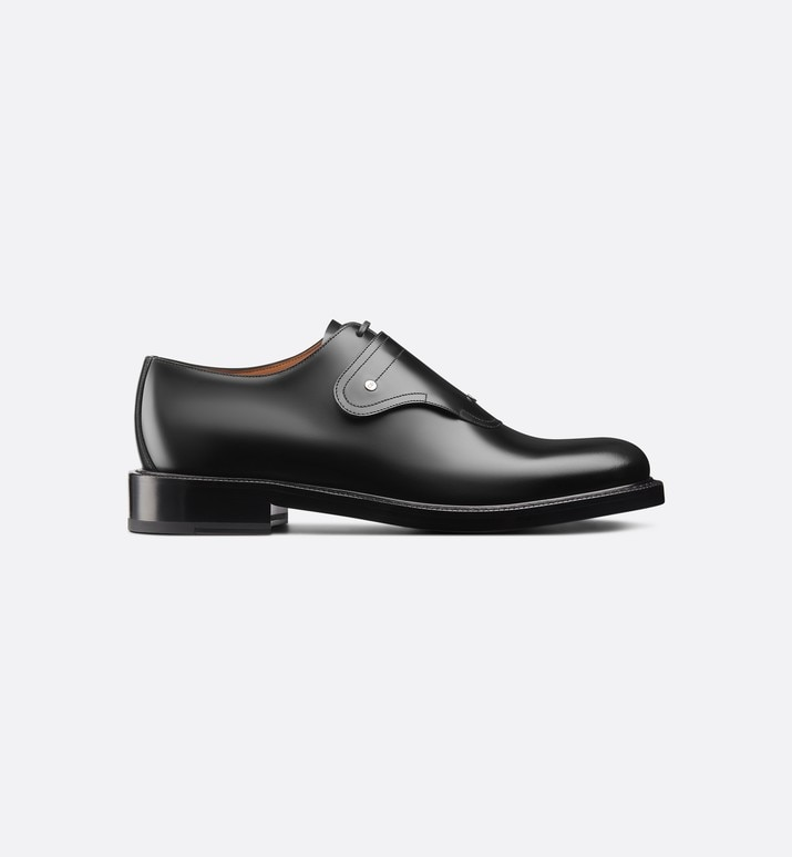 saddle monk derby shoe in black calfskin | Dior