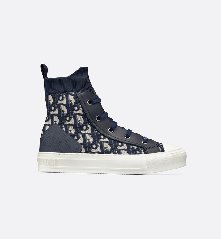 walk'n'dior high-top sneaker in dior oblique technical knit | Dior