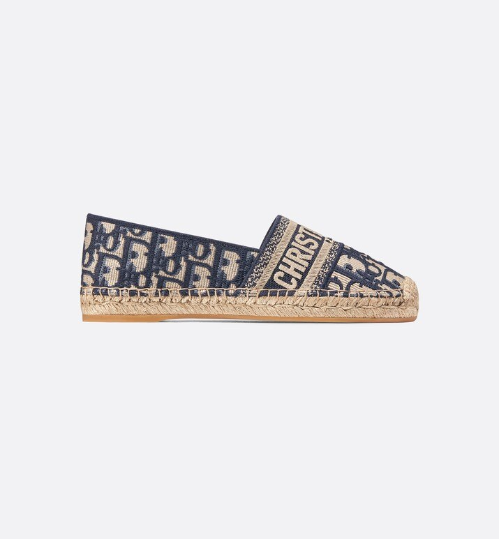 deep blue dior granville dior oblique embroidered cotton espadrille | Dior