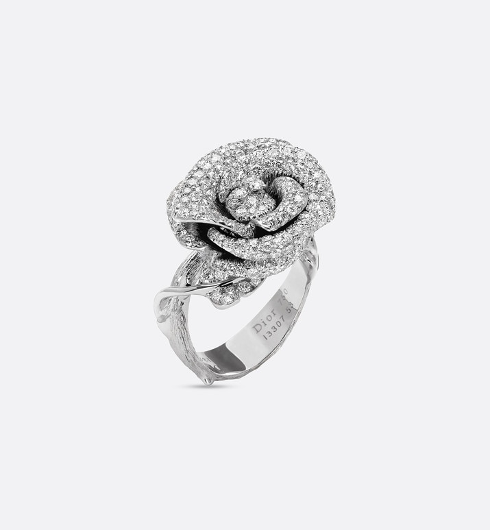 rose dior bagatelle ring, medium model, in 18k white gold and diamonds | Dior