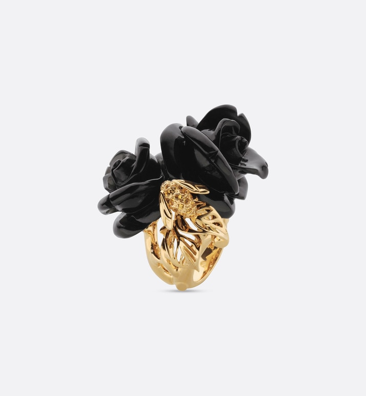 rose dior pré catelan ring, large model, in 18k yellow gold and onyx | Dior