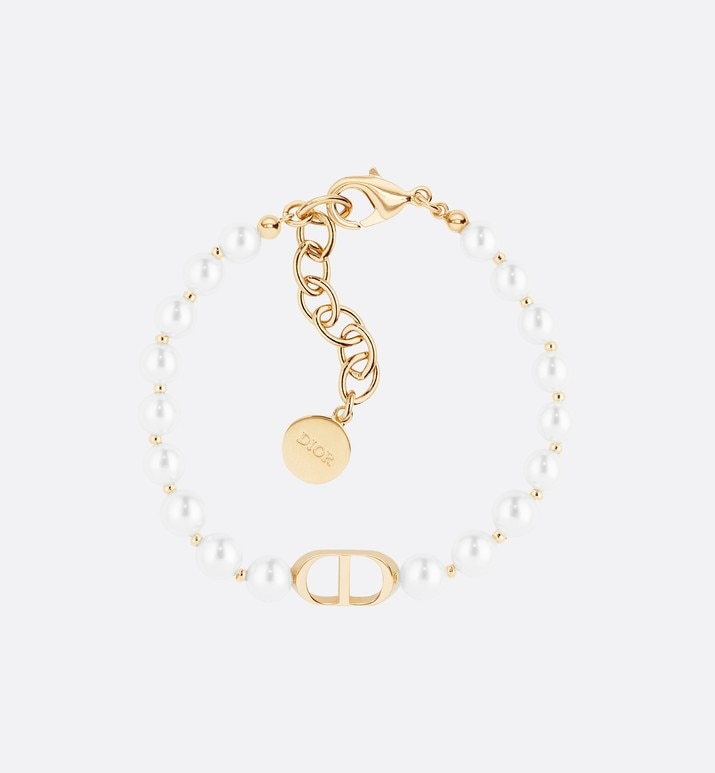 white resin bead 30 montaigne gold finish bracelet | Dior