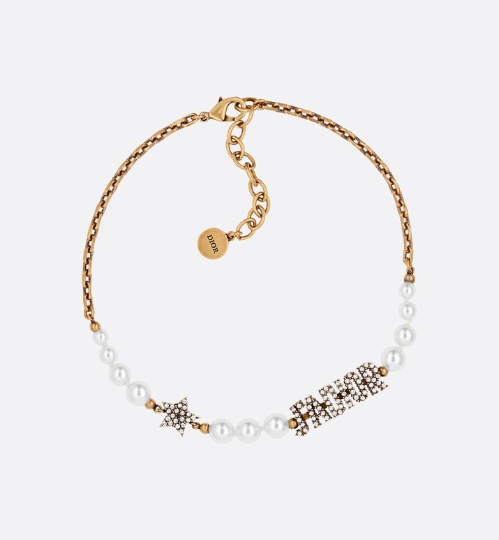 white resin bead and crystal 'j'adior' antique gold finish choker | Dior