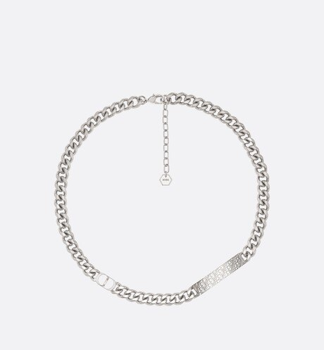 Chain Link Necklace with Dior Oblique Plate Front view