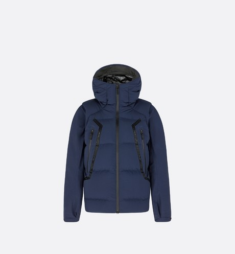 DIOR AND DESCENTE Hooded Down Jacket with Removable Sleeves Front view
