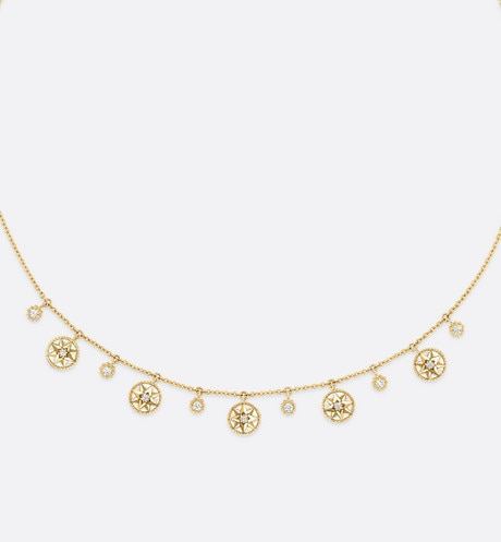 Collier Rose des vents en or jaune 750/1000e, diamants et nacre aria_frontView
