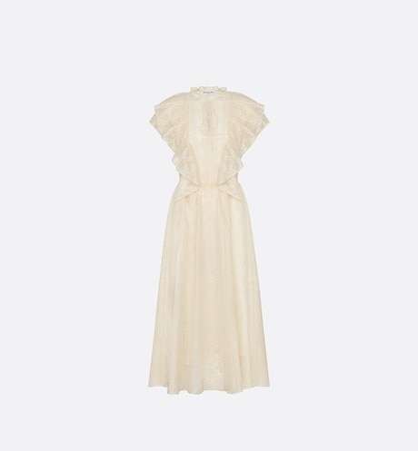 Long Ivory Silk Lace Dress with Geometric Motif aria_frontView