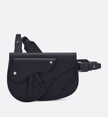 Saddle messenger bag in navy blue calfskin front view