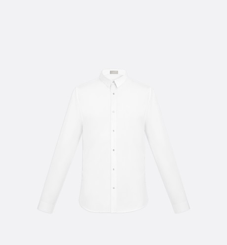 White Cotton Poplin Dress Shirt with  'CD Icon' logo Buttons front view