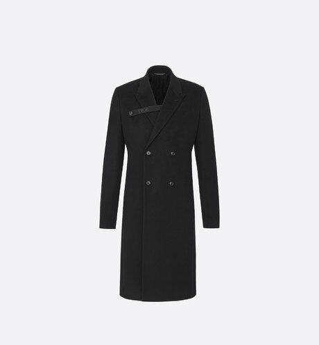 Black 'Dior' Logo Strap Double-Breasted Cashmere Cloth Overcoat aria_frontView