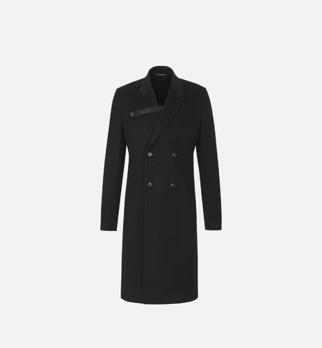 Black 'Dior' Logo Strap Double-Breasted Cashmere Cloth Overcoat front view