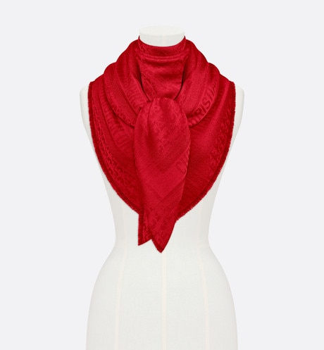 Click here to enlarge the product picture Red New Dior Oblique Wool-Blend Jacquard Shawl