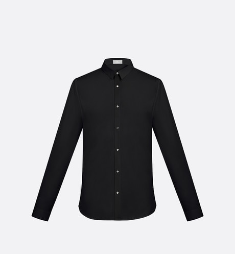 Shirt, Palladium-finished snaps, black cotton aria_frontView