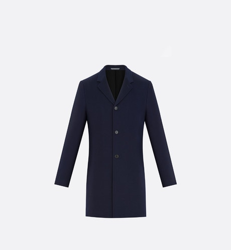 Topcoat, navy blue cashmere front view