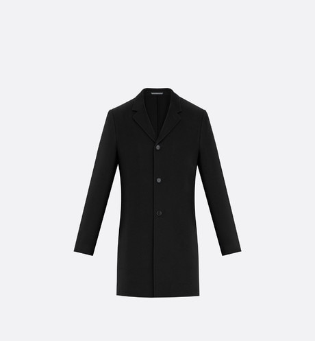 Topcoat, black cashmere Black front view